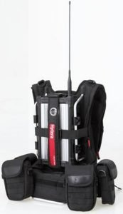 Hytera RD965 portable UHF repeater in a backpack