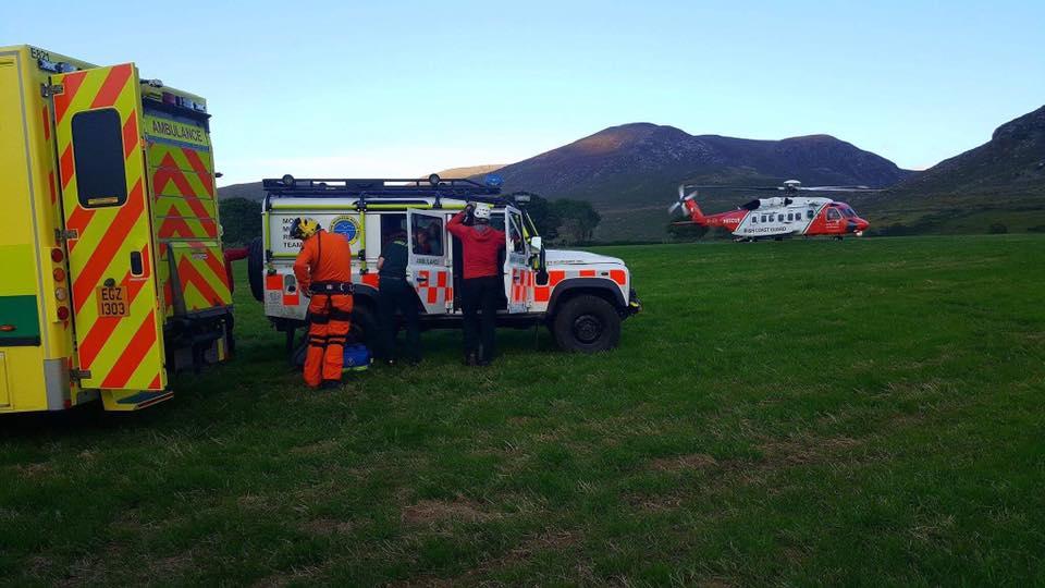 Mounrtain rescue team using Simoco DMR digital radio system Mourne Mountain