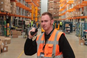 Hytera PD785 DMR walie talkie is use at a warehouse