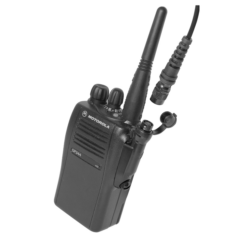 Motorola GP344 Showing Accessory adapter and hirose interface lead