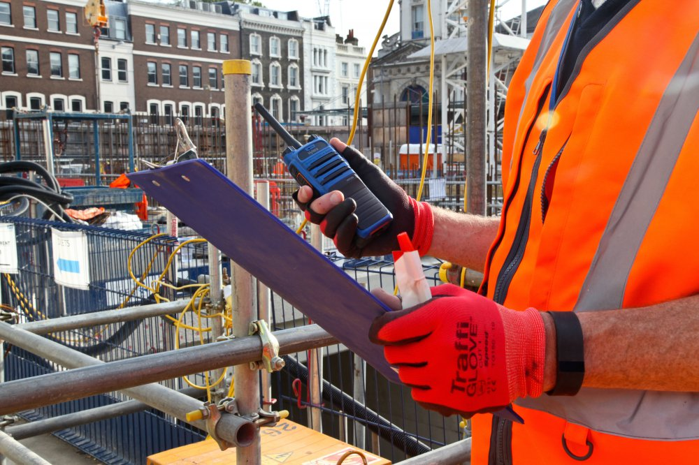 Hytera PD715Ex intrinsically safe 2 way radio on construction site